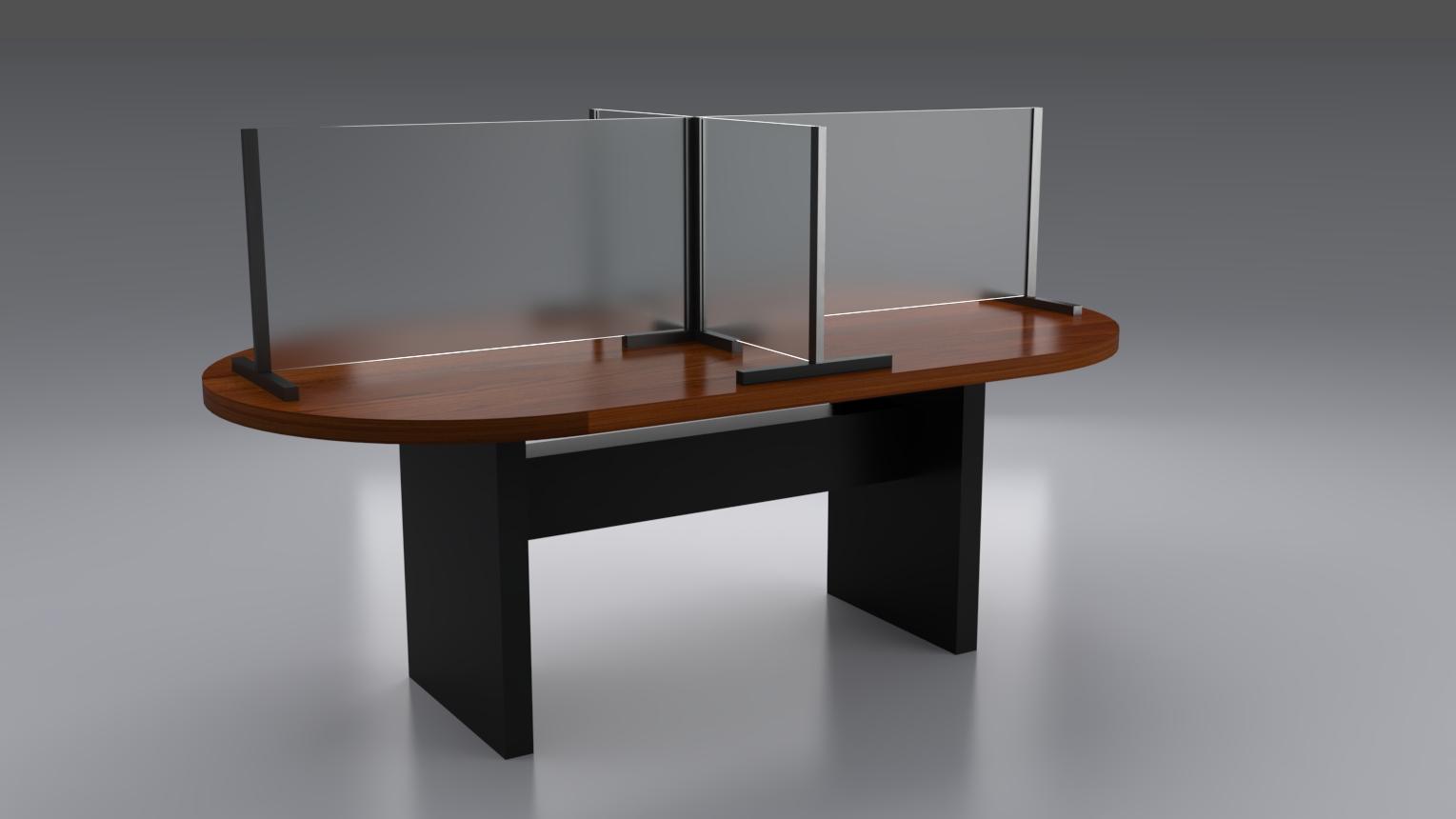 Mesa con acrílico protector COVID19